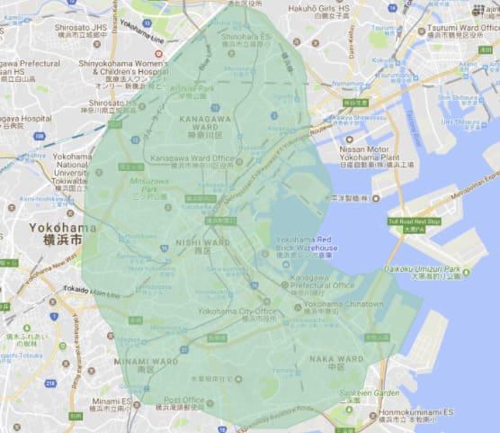 UberEATS(ウーバーイーツ)の配達エリア横浜・川崎1