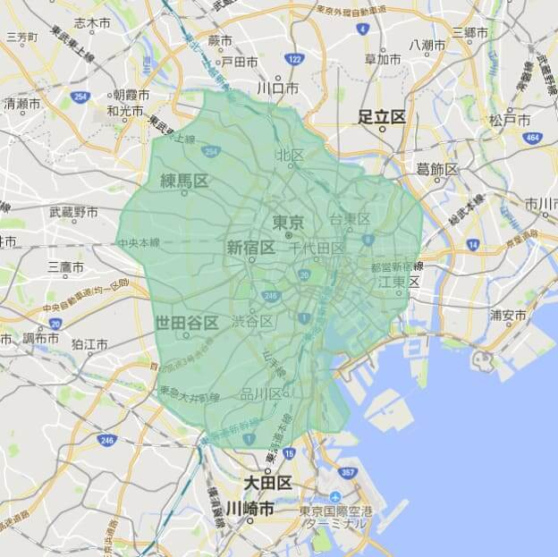 UberEATS(ウーバーイーツ)の配達エリア東京4