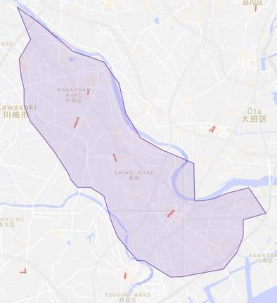 UberEATS(ウーバーイーツ)の配達エリア横浜・川崎2