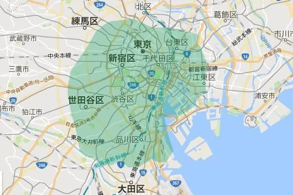 UberEATS(ウーバーイーツ)の配達エリア東京3
