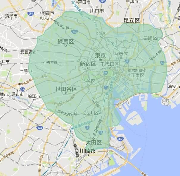 UberEATS(ウーバーイーツ)の配達エリア東京5