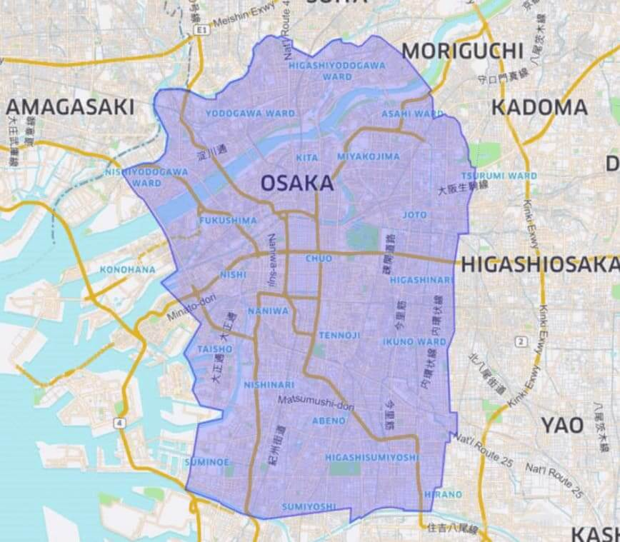 UberEATS(ウーバーイーツ)大阪対象エリア5