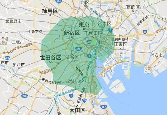 UberEATS(ウーバーイーツ)の配達エリア東京2