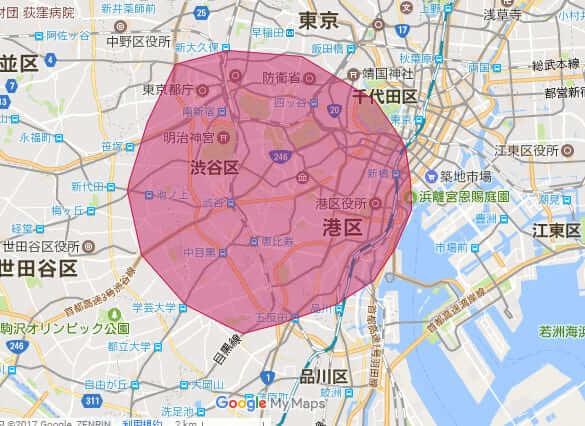UberEATS(ウーバーイーツ)の配達エリア東京1