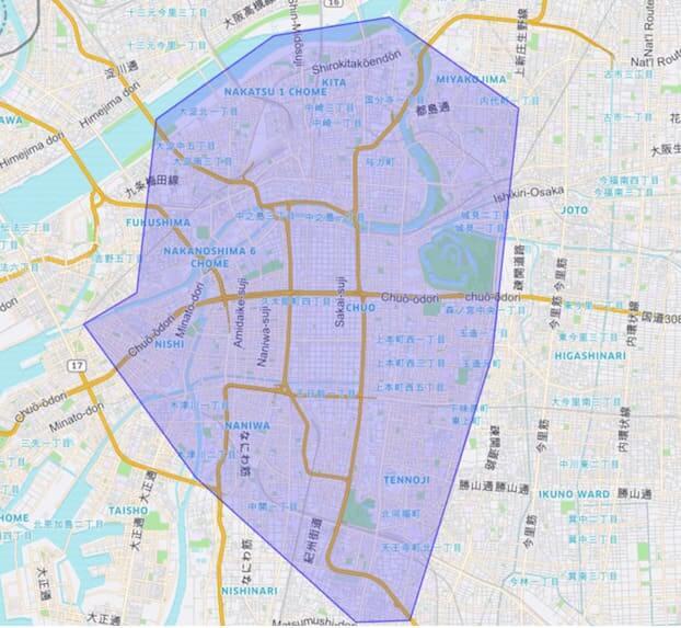 UberEATS(ウーバーイーツ)の配達エリア大阪1